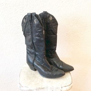 Vintage Boho Gypsy Cowgirl Leather Heeled Boots 7